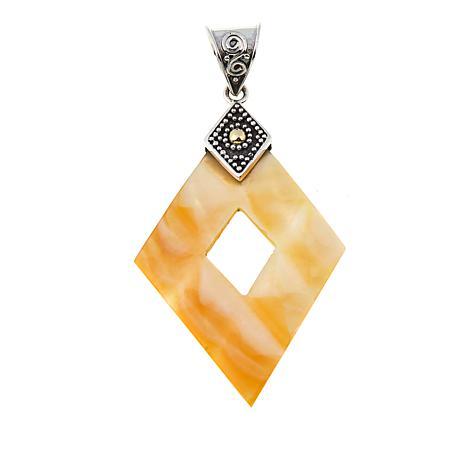 Bali Designs by Robert Manse Diamond-Shaped Mother-of-Pearl Pendant