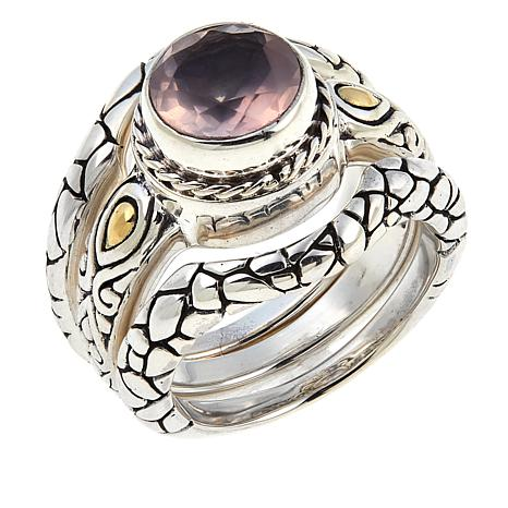 Bali Designs by Robert Manse Rose Quartz Cobblestone 3-piece Ring Set