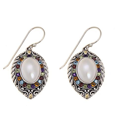 Bali Designs Cultured Mabe Pearl and Multigem 2-Tone Drop Earrings