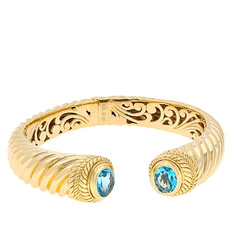 Bali Designs Gold-Plated Sterling Silver Swiss Blue Topaz Cable Cuff