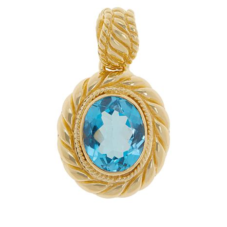 Bali Designs Gold-Plated Swiss Blue Topaz Cable Pendant