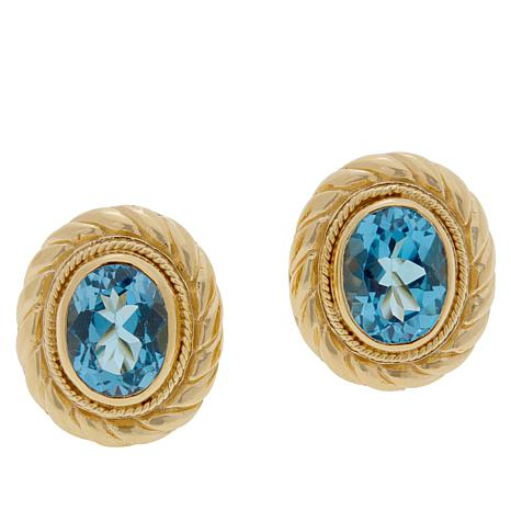 Bali Designs Gold-Plated Swiss Blue Topaz Cable Stud Earrings
