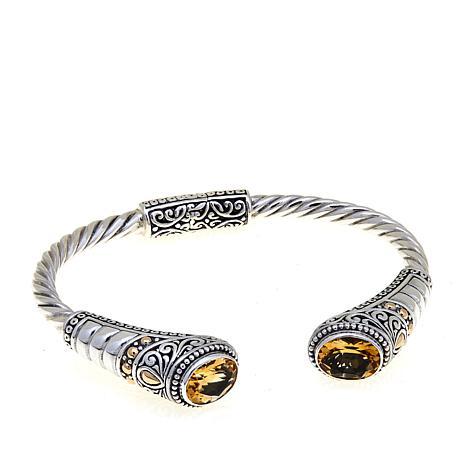 "Bali Designs ""Jalan Indah"" Oval Citrine Cuff Bracelet"