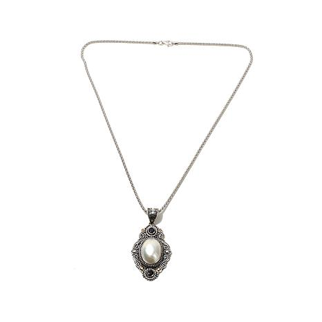 Bali Designs Mabé Pearl and Gemstone Pendant with Chain