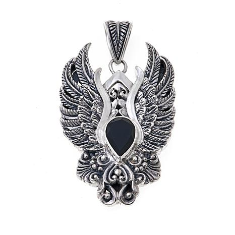 Bali Designs Men's Black Onyx Eagle Pendant