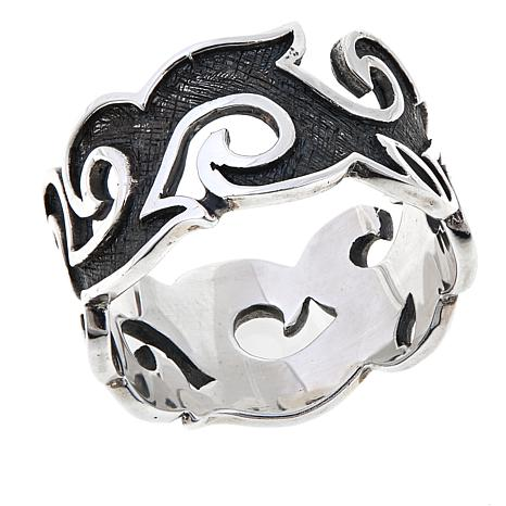 Bali Designs Men's Sterling Silver Flame Band Ring