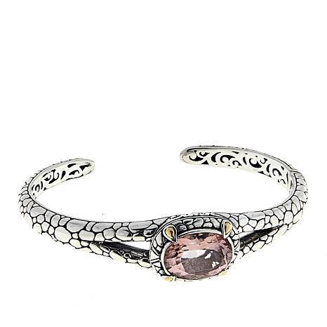 Bali Designs Pink Morganite Color-Coated Quartz Cobblestone Bracelet
