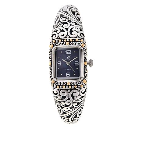 """Bali Designs """"Sanga"""" 18K Gold Accent Mother-of-Pearl Dial Cuff Watch"""