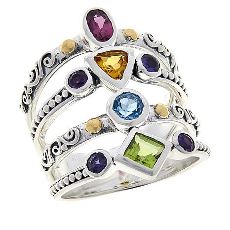 Bali Designs Sterling Silver and 18K Gold Multi-Gemstone Ring