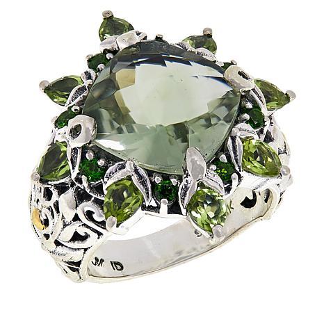 Bali Designs Sterling Silver and 18K Prasiolite and Multi-Gem Ring