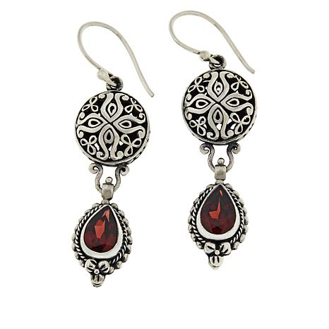 Bali Designs Sterling Silver Garnet Scrollwork Drop Earrings