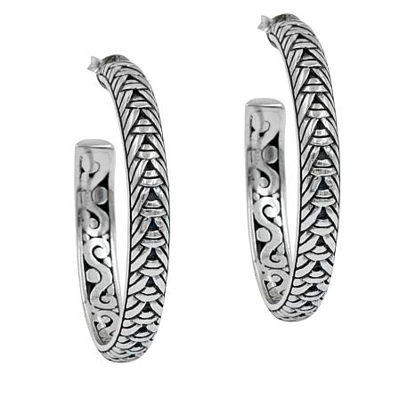 Bali Designs Sterling Silver Woven Hoop Earrings