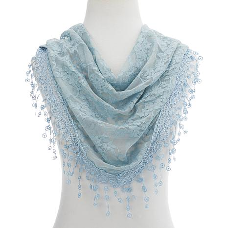 Basha Lace Scarf with Embroidered Trim