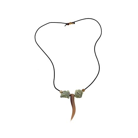 "Bé Wavy Horn and Prehnite 38"" Leather Necklace"