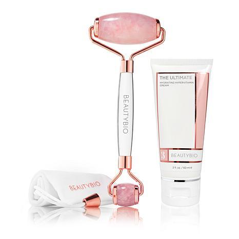 BeautyBio Rose Quartz Roller & The Ultimate Hydrating Facial Cream