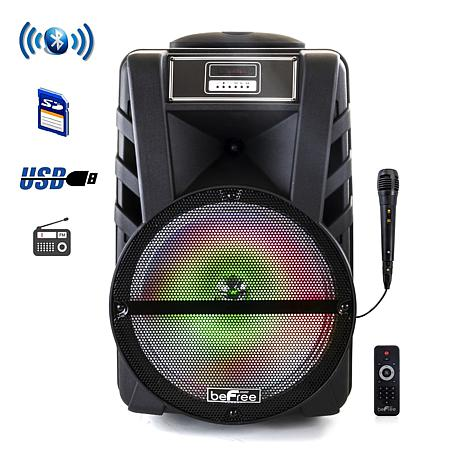 "beFree Sound 12"" Bluetooth Portable Party Speaker w/Reactive Lights"