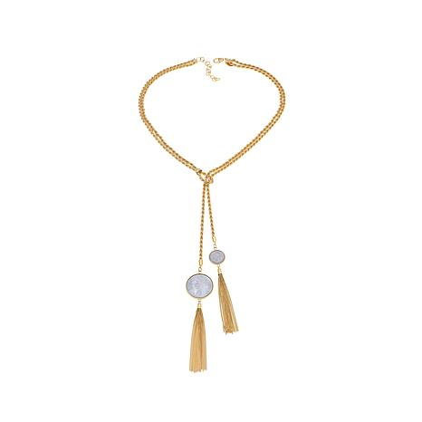 """Bellezza 100 and 50 Lira Coin Rope Tassel 26"""" Necklace"""