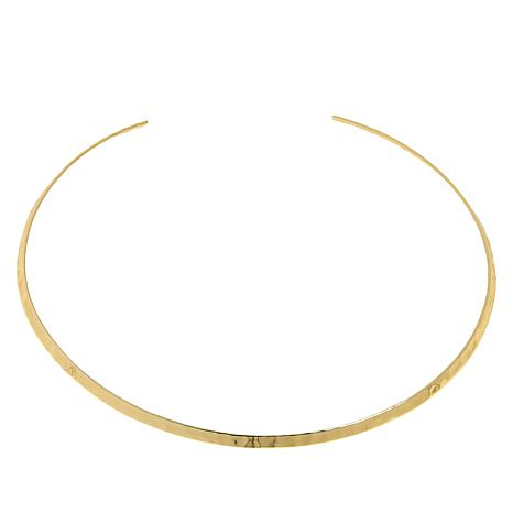 "Bellezza 15-1/2"" Bronze Hammered Collar Necklace"