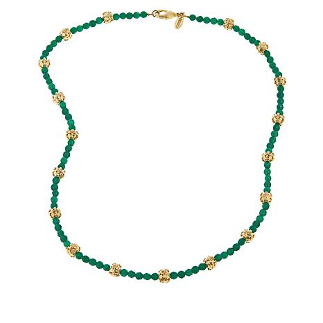 """Bellezza 20"""" Green Agate Textured Bead Necklace"""