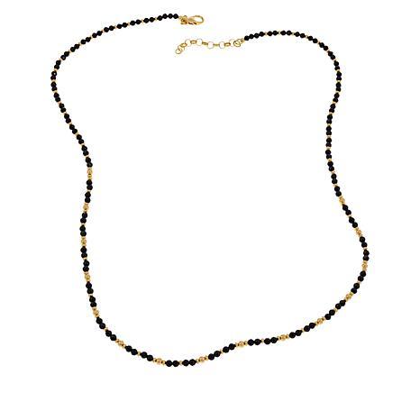 "Bellezza 30"" Bronze Black Spinel Beaded Station Necklace"