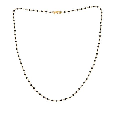 """Bellezza 3.64ctw Black Spinel Faceted Bead Bronze 18"""" Link Necklace"""