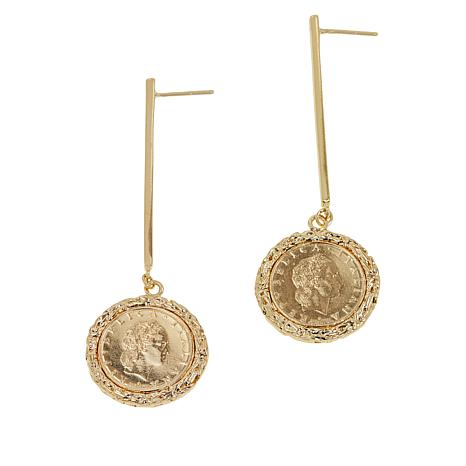 Bellezza 50 Lira Coin Bronze Byzantine Drop Earrings