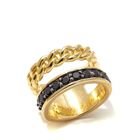 Bellezza .99ctw Black Spinel and Curb Link Bronze Ring