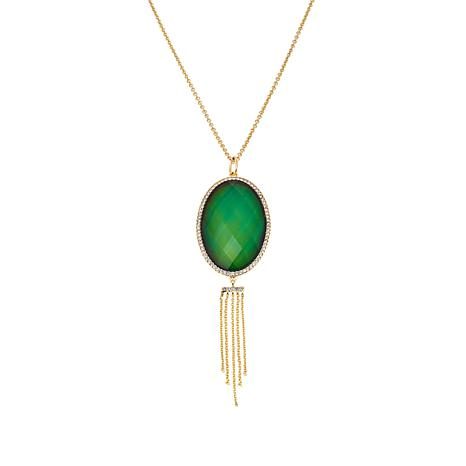 "Bellezza Color-Changing Crystal Bronze Tassel Drop 28"" Necklace"