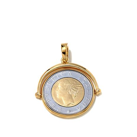 Bellezza Lira Coin  Bronze Enhancer Flip Pendant