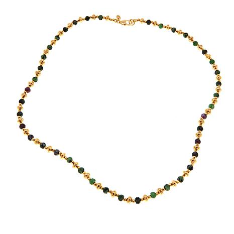 "Bellezza Ruby Zoisite Bronze Beaded 20"" Necklace"