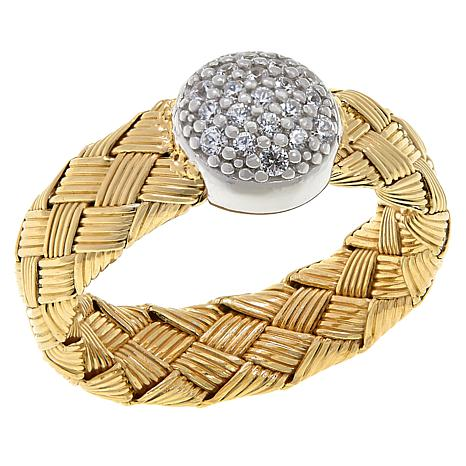 Bellezza Yellow Gold-Plated Sterling Silver CZ Woven Pavé Disc Ring