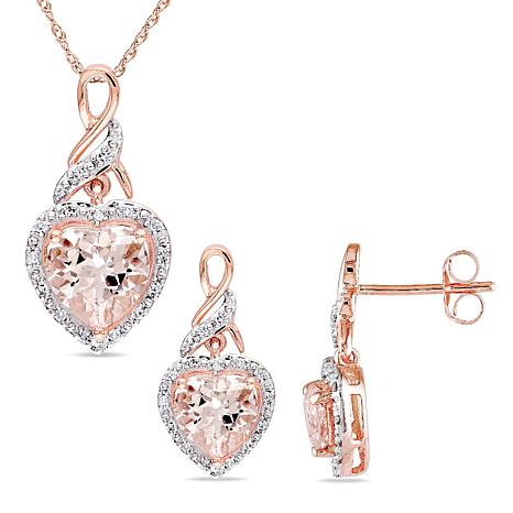 Bellini 10K Morganite and White Diamond Heart Pendant and Earrings Set