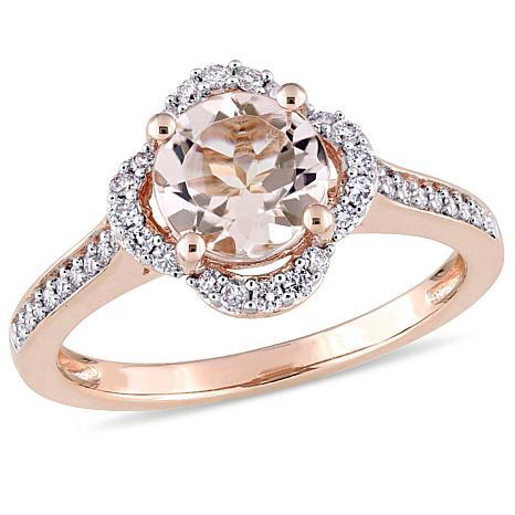 Bellini 1.42ctw Morganite and Diamond 14K Rose Gold Pavé Ring