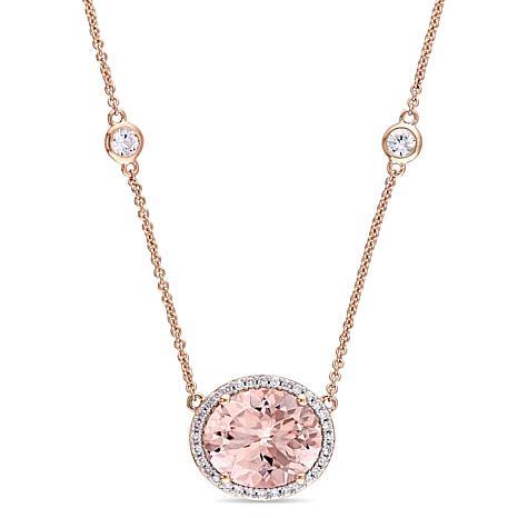 Bellini 14K  Gold Diamond and Morganite Necklace with White Sapphire