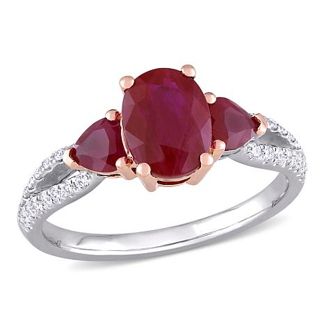 Bellini 14K Gold Oval and Heart Ruby 3-Stone Diamond-Accented Ring