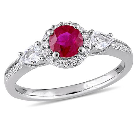 Bellini 14K Gold Ruby & White Sapphire Diamond-Accent Engagement Ring