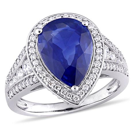 Bellini  14K White Gold  Blue Sapphire and Diamond Halo Cocktail Ring