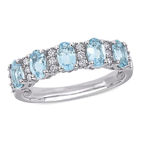 Bellini 14K White Gold Oval Aquamarine and Diamond Semi-Eternity Ring