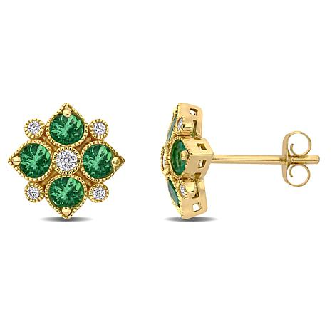 Bellini 14K Yellow Gold Emerald and Diamond Geometric Stud Earrings