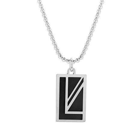 b031c9619c28 Ben Sherman Men s Leather-Accented Stainless Steel Pendant Necklace -  8794403