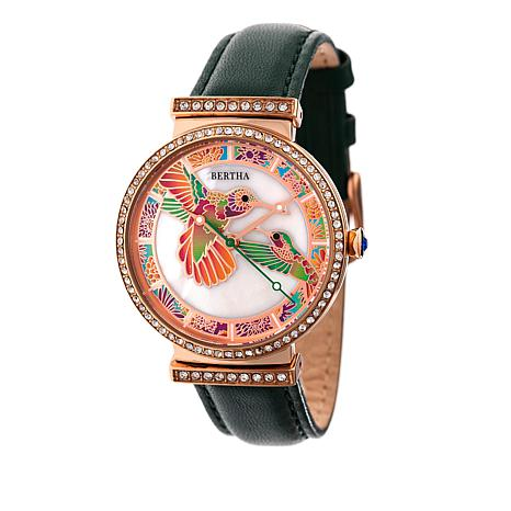 """Bertha """"Emily"""" Hummingbird Crystal-Accented Leather Strap Watch"""
