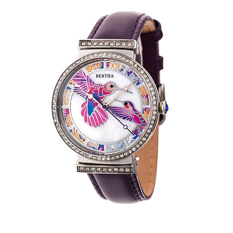 "Bertha ""Emily"" Hummingbird Crystal-Accented Leather Strap Watch"