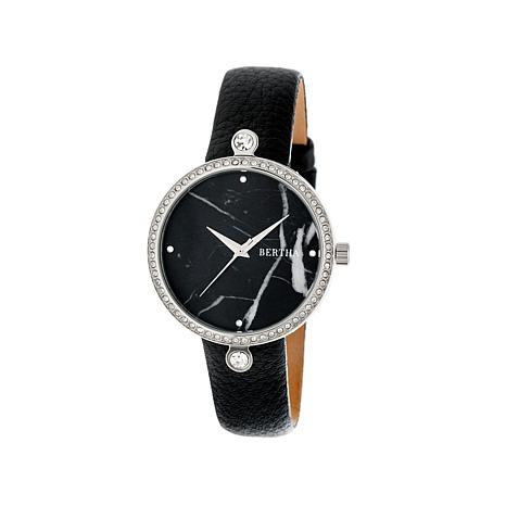 Bertha Frances Marble Dial Black Leather Strap Watch
