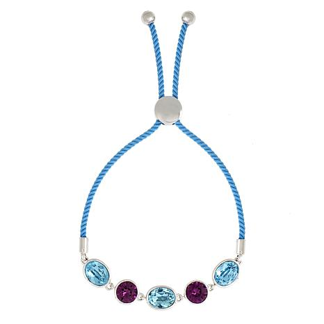 Bertha Jemma Collection Colored Crystal Bead Bolo Rope Bracelet