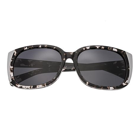 Bertha Natalia Polarized Sunglasses with Black Frames & Silver Lenses