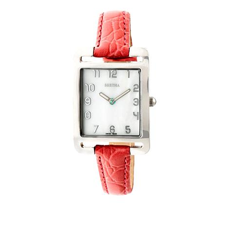 "Bertha Watches ""Marisol"" Square Dial Leather Strap Watch"