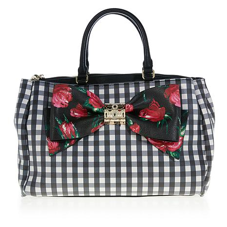 Betsey Johnson Gingham-Style Bow Satchel