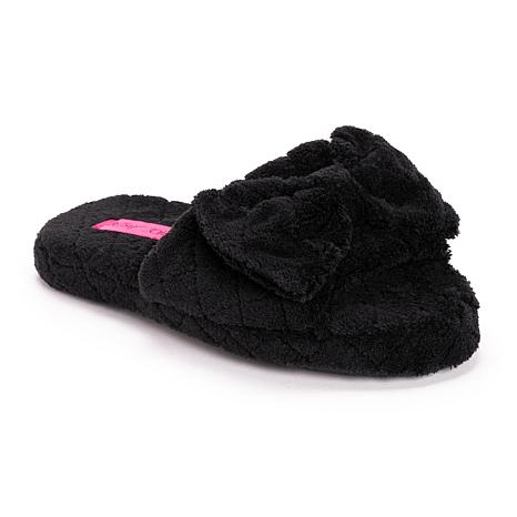 Betsey Johnson Women's Quilted Terry Cloth Slide Slippers