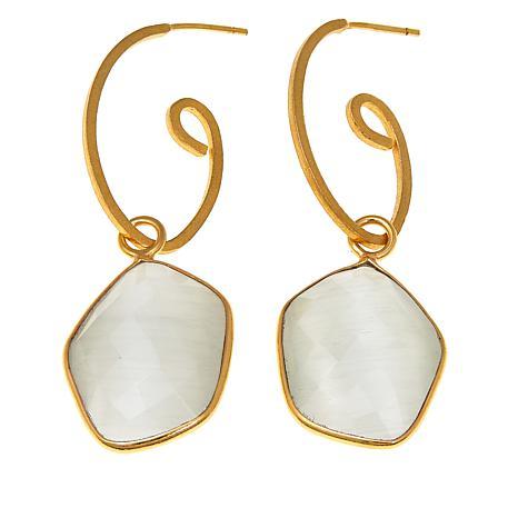 Betty Carré Freeform Stone Goldtone Swirl Drop Earrings