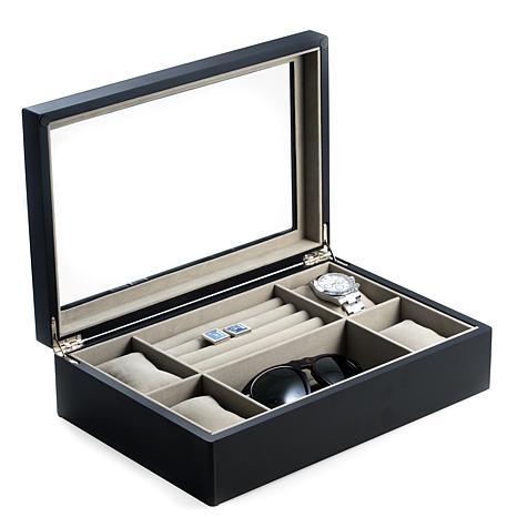 Bey-Berk Matte Black Wood Valet and Watch Box